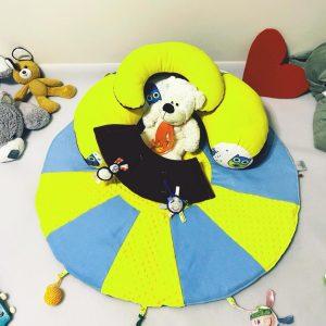 Sėdėjimo/Atraminė pagalvė su lavinamuoju žaidimų kilimėliu ,,SAULĖ,,
