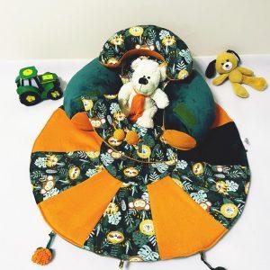 Sėdėjimo/Atraminė pagalvė su lavinamuoju žaidimų kilimėliu ,,LIŪTAS,,