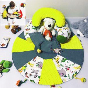 Sėdėjimo/Atraminė pagalvė su lavinamuoju žaidimų kilimėliu ,,LABAS RYTAS,,