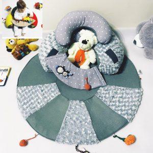 Sėdėjimo/Atraminė pagalvė su lavinamuoju žaidimų kilimėliu ,,ŠVELNUTIS,,